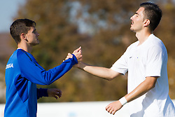 Petar Stojanovic and Maks Barisic of Slovenia during football game between Slovenia and Andorra of UEFA Under19 Championship Qualifications, on October 15, 2013 in Bakovci, Slovenia. (Photo by Erik Kavas / Sportida)