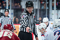 REGINA, SK - MAY 20: Linesman Chad Huseby stands at centre ice and lines up players at the Brandt Centre on May 20, 2018 in Regina, Canada. (Photo by Marissa Baecker/CHL Images)