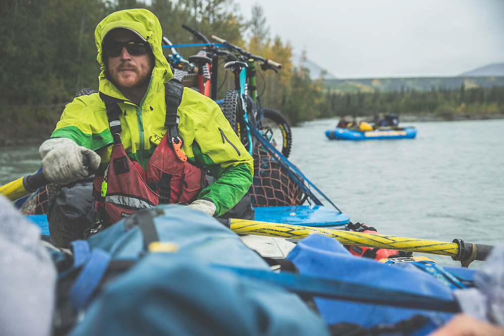 River guide, Mike Neville paddles a fully loaded raft down the Tatshenshini River in the Tatshenshini-Alsek Provincial Park in British Columbia, Canada on August 31, 2016.