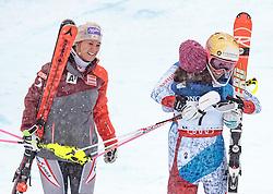 10.02.2017, St. Moritz, SUI, FIS Weltmeisterschaften Ski Alpin, St. Moritz 2017, alpine Kombination, Damen, Siegerpräsentation, im Bild v.l Michaela Kirchgasser (AUT, Bronzemedaille Alpine Kombination der Damen), Wendy Holdener (SUI, Weltmeister und Goldmedaille Alpine Kombination der Damen), Michelle Gisin (SUI, Silbermedaille Alpine Kombination der Damen) // f.l. ladie's Alpin Combined bronze medalist Michaela Kirchgasser of Austria ladie's Alpin Combined Goldmedalist and World Champion Wendy Holdener of Switzerland ladie's Alpin Combined Silver medalist Michelle Gisin of Switzerland during the winnerpresentation for the ladie's Alpine combination of the FIS Ski World Championships 2017. St. Moritz, Switzerland on 2017/02/10. EXPA Pictures © 2017, PhotoCredit: EXPA/ Johann Groder