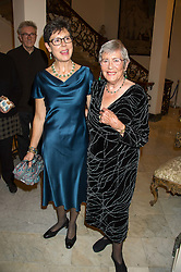 Left to right, ANNA DEL CONTE and her daughter JULIA CARDOZO at a reception in honour of Anna del Conte held at The Italian Emabssy, Grosvenor Square, London on 9th November 2015.