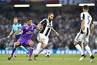 Gonzalo HiguaÌn of Juventus during the UEFA Champions League Final match between Real Madrid and Juventus at the National Stadium of Wales, Cardiff, Wales on 3 June 2017. Photo by Giuseppe Maffia.<br /> <br /> Giuseppe Maffia/UK Sports Pics Ltd/Alterphotos
