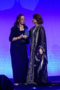 Lonnie Ali, widow of Muhammad Ali and Co-Founder of the Muhammad Ali Center, presents HRH Princess Dr. Nisreen El-Hashemite, executive director of the Royal Academy of Science International Trust (RASIT), medical doctor, geneticist and humanitarian, with the Muhammad Ali Humanitarian of the Year Award at the fifth annual Muhammad Ali Humanitarian Awards Saturday, Sept. 23, 2017, at the Marriott Louisville Downtown in Louisville, Ky. (Photo by Brian Bohannon/Invision for Muhammad Ali Center/AP Images)