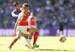 Radamel Falcao of Chelsea and Laurent Koscielny of Arsenal - Mandatory byline: Paul Terry/JMP - 07966386802 - 02/08/2015 - Football - Wembley Stadium -London,England - Arsenal v Chelsea - FA Community Shield