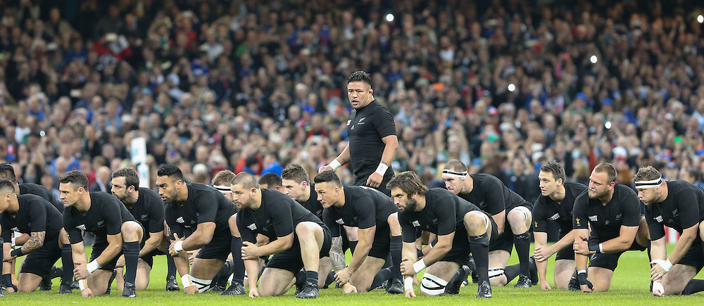 Kevin Melamu leads the Haka before the Rugby World Cup Quarter Final, New Zealand v France, Saturday 17 October 2015, Millenium Stadium, Cardiff (Photo by Mike Poole - Photopoole)