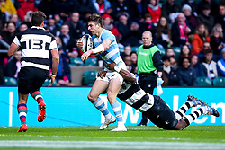 Sebastian Cancelliere of Argentina is tackled - Mandatory by-line: Robbie Stephenson/JMP - 01/12/2018 - RUGBY - Twickenham Stadium - London, England - Barbarians v Argentina - Killick Cup