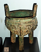 Bronze cooking vessel, Shang Dynasty, Chinese. Circa 1200-1050 BC