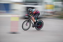 Mieke Kröger (GER) of CANYON//SRAM Racing leans into a corner during the prologue of the Ladies Tour of Norway - a 3.4 km time trial, starting and finishing in Halden on August 17, 2017, in Ostfold, Norway. (Photo by Balint Hamvas/Velofocus.com)