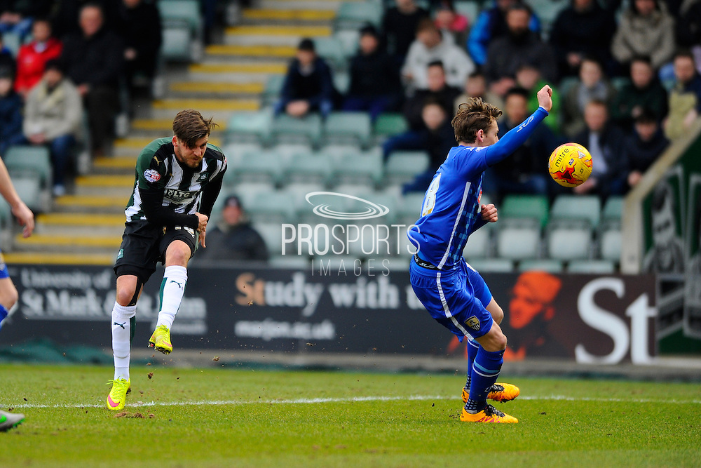 Plymouth Argyle's Graham Carey has a shot during the Sky Bet League 2 match between Plymouth Argyle and Notts County at Home Park, Plymouth, England on 27 February 2016. Photo by Graham Hunt.