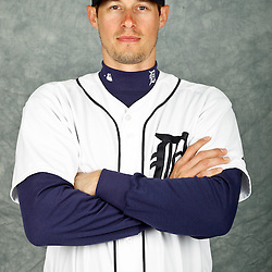 February 28, 2012; Lakeland, FL, USA; Detroit Tigers third baseman Don Kelly (32) poses for photo day in the rec room at the Detroit Tigers Headquarters.  Mandatory Credit: Derick E. Hingle-US PRESSWIRE