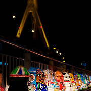 Nebuta-style lanterns made by local children decorate the walk along the waterfront, just behind the Nebuta Museum in Aomori, mainland Japan's northernmost city.