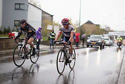 Giorgia Bronzini (ITA) of Wiggle Hi5 Cycling Team and Carmen Small (USA) of Cervélo-Bigla Cycling Team crosses the finish line with two laps to go of the first, 106.9km road race stage of Elsy Jacobs - a stage race in Luxembourg, in Steinfort on April 30, 2016