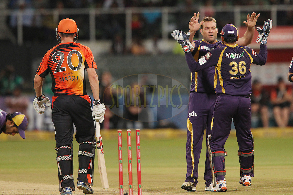 Jacques Kallis celebrates the wicket of Shaun Marsh during match 9 of the Karbonn Smart CLT20 South Africa between The Kolkata Knight Riders and The Perth Scorchers held at Kingsmead Park in Durban, South Africa on the 17th October 2012..Photo by Ron Gaunt/SPORTZPICS/CLT20