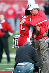 27 October 2007:  Rafeal Rice hugs coach Denver Johnson. The Western Illinois Leathernecks beat up on the Illinois State Redbirds  27-14 at Hancock Stadium on the campus of Illinois State University in Normal Illinois.