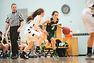 St. Johnsbury's Kayla Matte (2) dribbles the ball during the girls basketball game between the St. Johnsbury Hilltoppers and the Essex Hornets at Essex high school on Tuesday night January 5, 2016 in Essex. (BRIAN JENKINS/for the FREE PRESS)