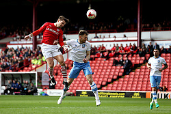 Tom Bradshaw of Barnsley heads the ball towards goal - Mandatory by-line: Robbie Stephenson/JMP - 01/04/2017 - FOOTBALL - Oakwell Stadium - Barnsley, England - Barnsley v Sheffield Wednesday - Sky Bet Championship