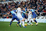 Peterborough United midfielder Siriki Dembele (10) gets crowded out during the EFL Sky Bet League 1 match between Wycombe Wanderers and Peterborough United at Adams Park, High Wycombe, England on 3 November 2018.