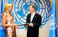 NEW YORK USA Queen Maxima of the Netherlands hands an annual report on financial inclusion to UN Secretary-General Ban Ki-moon before a meeting at the United Nations in New York on September 23, 2014. Photo United Nations / Mark Garten
