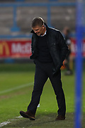 Dover Athletic Manager, Andy Hessenthaler paces the touchline during the Vanarama National League match between FC Halifax Town and Dover Athletic at the Shay, Halifax, United Kingdom on 17 November 2018.