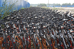 July 6, 2018 - Zhengzhou, China - Hundreds of abandoned shared bicycles seen in Zhengzhou, central China's Henan Province. (Credit Image: © SIPA Asia via ZUMA Wire)
