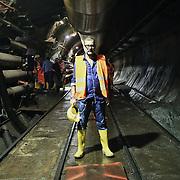"""Nella fotografia: Luca BEATRICE curatore del progetto CHIOMONTE (TORINO) -10 ottobre 2016 - inaugurazione di """"Tunnel Art Work"""", primo progetto internazionale di arte nella galleria geognostica in cantiere della linea ferroviaria Tav Torino Lione."""