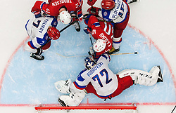 Patrick Thoresen of Norway and Ken Andre Olimb of Norway vs Dmitri Kulikov of Russia, Sergei Bobrovski of Russia and Sergei Plotnikov of Russia during Ice Hockey match between Russia and Norway at Day 1 in Group B of 2015 IIHF World Championship, on May 1, 2015 in CEZ Arena, Ostrava, Czech Republic. Photo by Vid Ponikvar / Sportida