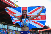 Morgan LAKE, winner of the Women's High Jump Final with a seasons best jump of 1.94m during the Muller British Athletics Championships at Alexander Stadium, Birmingham, United Kingdom on 25 August 2019.