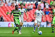 Forest Green Rovers Drissa Traoré(4) holds off Tranmere Rovers Connor Jennings(11) during the Vanarama National League Play Off Final match between Tranmere Rovers and Forest Green Rovers at Wembley Stadium, London, England on 14 May 2017. Photo by Adam Rivers.
