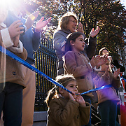 NYTRUN - NOV. 6, 2016 - NEW YORK - The Andueza family cheer on participants in the 2016 TCS New York City Marathon, from the curb in front of the Cooper Hewitt Museum on 5th Avenue, at 90th Street on Sunday. NYTCREDIT:  Karsten Moran for The New York Times **PLS CHECK FINISH PLACE AND TIMES