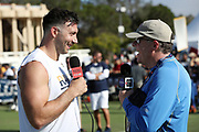 Los Angeles Rams linebacker Connor Barwin (98) smiles as he does a post practice interview with noted football writer Peter King (right) after the Los Angeles Rams NFL football training camp practice on Saturday, July 29, 2017 in Irvine, Calif. (©Paul Anthony Spinelli)