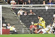 Milton Keynes Dons striker Robbie Simpson(19) scores a goal from open play 1-1 during the EFL Sky Bet League 2 match between Milton Keynes Dons and Grimsby Town FC at stadium:mk, Milton Keynes, England on 21 August 2018.