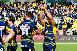 Marco Mama of Worcester Warriors celebrates beating Gloucester Rugby and securing Premiership Rugby status - Mandatory by-line: Robbie Stephenson/JMP - 28/04/2019 - RUGBY - Sixways Stadium - Worcester, England - Worcester Warriors v Gloucester Rugby - Gallagher Premiership Rugby