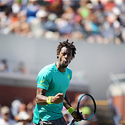 2017 U.S. Open Tennis Tournament - DAY THREE. Gael Monfils of France celebrates winning the fist set tie break over Jeremy Chardy of France during the Men's Singles round one match on court seventeen at the US Open Tennis Tournament at the USTA Billie Jean King National Tennis Center on August 30, 2017 in Flushing, Queens, New York City.  (Photo by Tim Clayton/Corbis via Getty Images)