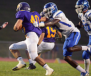 Connell-Egan Catholic's Daniel Green #7 chases after Upper Moreland's Tim Duff #40 in the first quarter at Upper Moreland High School Friday September 18, 2015 in Willow Grove, Pennsylvania.  (Photo by William Thomas Cain)