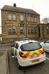 "© Licensed to London News Pictures. 01/04/2016. Dewsbury, UK. A police car parked outside the Tarbiyah Academy in Dewsbury, West Yorkshire, which is under investigation for 'promoting extremism'. The private Islamic school is under investigation after allegations it is teaching an ""extreme form of Islam.  Photo credit : Ian Hinchliffe/LNP"