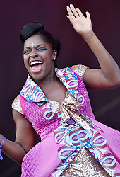 © Licensed to London News Pictures.  02/09/2017; Bristol, UK. ENO WIILLIAMS with IBIBIO SOUND MACHINE perform at The Downs Festival 2017 on The Downs in Bristol. Picture credit : Simon Chapman/LNP