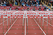 Line-up at the Men's 110m Hurdles Final during the Muller Grand Prix at Alexander Stadium, Birmingham, United Kingdom on 18 August 2018. Picture by Ian Stephen.