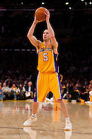 25 February 2011: Guard Steve Blake of the Los Angeles Lakers looks to pass the ball against the Los Angeles Clippers during the second half of the Lakers 108-95 victory over the Clippers at the STAPLES Center in Los Angeles, CA.