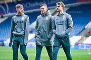 Leeds United defender Ben White (5) Leeds United forward Jack Clarke (47) and Leeds United forward Patrick Bamford (9) arrives at the ground during the EFL Sky Bet Championship match between Huddersfield Town and Leeds United at the John Smiths Stadium, Huddersfield, England on 7 December 2019.