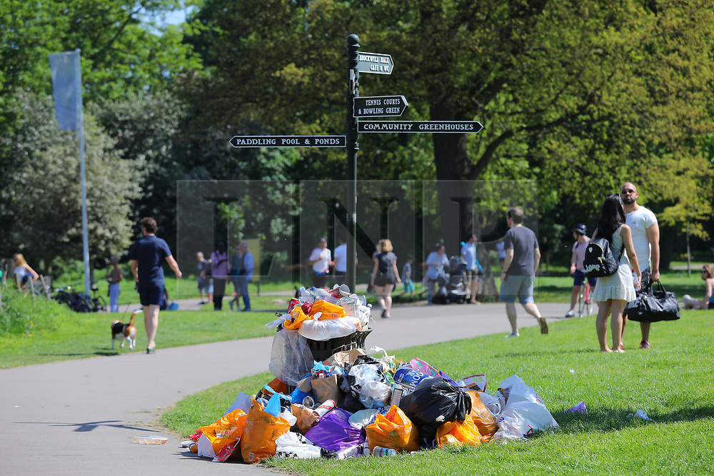 © Licensed to London News Pictures. 07/05/2018. London, UK. Piles of rubbish build up after a busy weekend in Brockwell Park, south London, on the May Bank Holiday as record-breaking temperatures are expected across Britain. Photo credit: London News Pictures