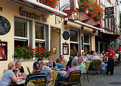 Street cafe in Bernkastel-Kues village on River Mosel in Mosel valley in Germany