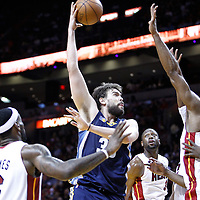 12 March 2011: Memphis Grizzlies center Marc Gasol (33) goes for the skyhook over Miami Heat center Erick Dampier (25) during the Miami Heat 118-85 victory over the Memphis Grizzlies at the AmericanAirlines Arena, Miami, Florida, USA. **