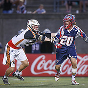 Owen Blye #20 of the Boston Cannons controls the ball during the game at Harvard Stadium on August 9, 2014 in Boston, Massachusetts. (Photo by Elan Kawesch)