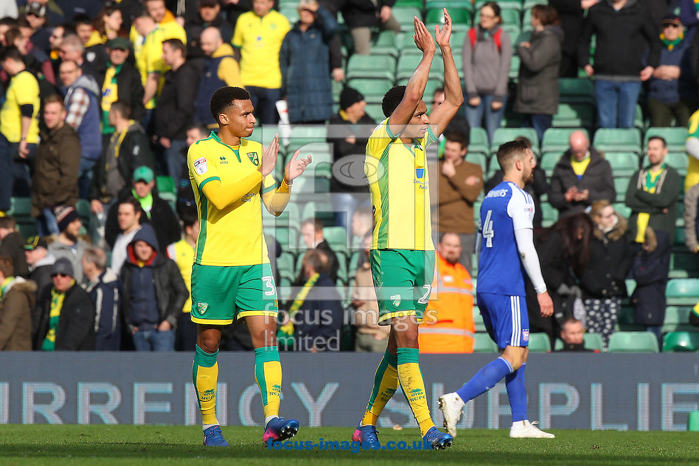 Josh Murphy of Norwich and Jacob Murphy of Norwich applaud the fans at the end of the Sky Bet Championship match at Carrow Road, Norwich<br /> Picture by Paul Chesterton/Focus Images Ltd +44 7904 640267<br /> 26/02/2017