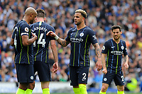 BRIGHTON, ENGLAND - MAY 12:  Kyle Walker (2) of Manchester City with Vincent Kompany (4) of Manchester City during the Premier League match between Brighton & Hove Albion and Manchester City at American Express Community Stadium on May 12, 2019 in Brighton, United Kingdom. (MB Media)