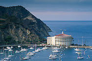 Overlooking The Casino Building and boats anchored in Avalon Harbor, Avalon, Catalina Island, California