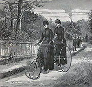 The Cripper tandem tricycle introduced in 1887. Engraving 1887.