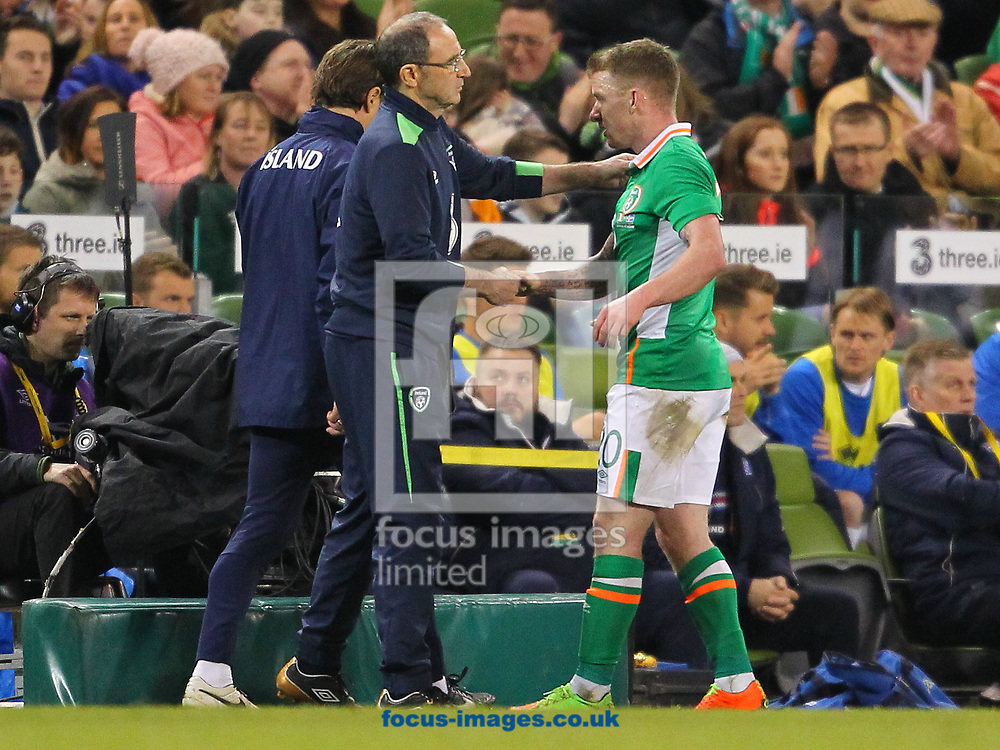 Marin O'Neill &amp; Jonathan Hayes of Republic of Ireland during the International Friendly match at the Aviva Stadium, Dublin<br /> Picture by Yannis Halas/Focus Images Ltd +353 8725 82019<br /> 28/03/2017