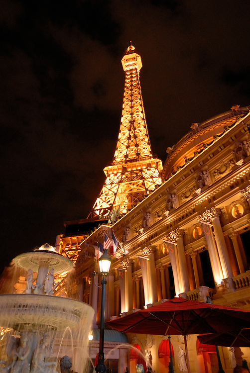 The Paris casino in Las Vegas at night, Nevada, USA
