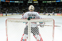 KELOWNA, CANADA - FEBRUARY 5: Brodan Salmond #31 of Kelowna Rockets stands in the net against the Spokane Chiefs on February 5, 2016 at Prospera Place in Kelowna, British Columbia, Canada.  (Photo by Marissa Baecker/Shoot the Breeze)  *** Local Caption *** Brodan Salmond;